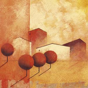 Houses and Trees in Orange and Red IV by Claudio Furlan