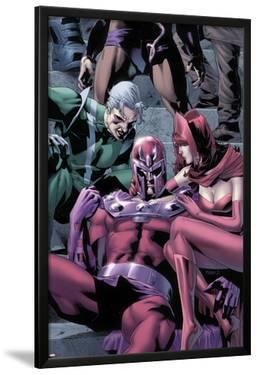 Magnetro: Not a Hero No.2 Cover: Magneto, Scarlet Witch, and Quicksilver Sitting by Clay Mann