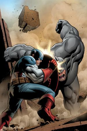 Marvel Adventrues Super Heroes No.5 Cover: Captain America and Rhino Fighting