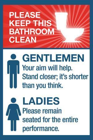 Clean Bathrooms Ladies Gentlemen Sign Art Print Poster