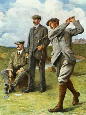 (Ltor) John Henry Taylor (1871-1963), James Braid (1870-1950), and Harry Vardon (1870-1937) by Clement Flower
