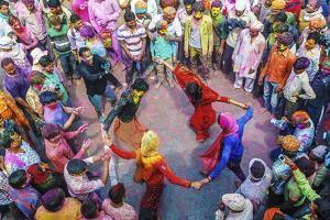 Asia, India, Uttar Pradesh, Nandgaon, Dancing During Holi Festival by ClickAlps