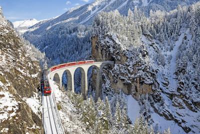 Bernina Train at Landwasser Viaduct, UNESCO World Heritage, Engadine, Switzerland