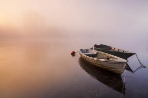 Brivio, Lombardy, Italy. Two Boats on the Adda River at Sunrise. by ClickAlps