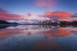 Castelluccio Di Norcia, Sibillini Mountains Umbria, Italy. Monte Carrier at Sunset by ClickAlps
