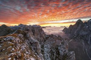 Colorful Sunrise over the Ridges of the Pale of the Balconies, Pala Group by ClickAlps