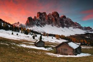Dawn on the Odle with typical huts. Puez-Odle Natural Park, Trentino Alto Adige, Italy by ClickAlps