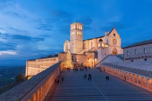 Europe,Italy,Perugia distict,Assisi. The Basilica of St. Francis at dusk by ClickAlps