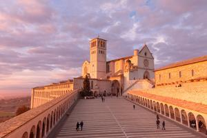 Europe,Italy,Perugia distict,Assisi. The Basilica of St. Francis at sunset by ClickAlps