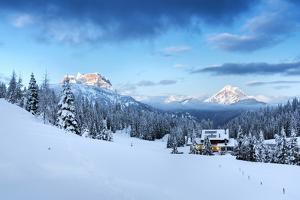 Europe, Italy, Veneto, Belluno. Winter at the Duran pass, Dolomites by ClickAlps