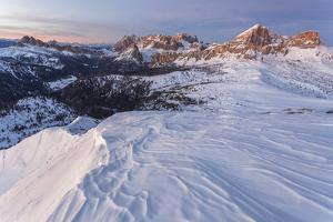 Europe, Italy, Veneto, Belluno. Winter view from Mount Pore northward, Dolomites by ClickAlps