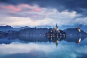 Europe, Slovenia, Upper Carniola. The lake of Bled at dawn by ClickAlps