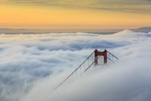 Golden Gate Bridge emerging from the morning fog at sunrise. San Francisco, Marin County, Californi by ClickAlps