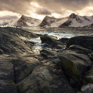 Lofoten, Norway. Last lights on the Norwegian fjord. by ClickAlps