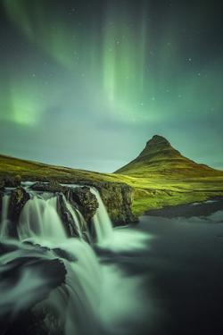 Long exposure landscape with waterfalls and aurora borealis above Kirkjufell Mountain, Snaefellsnes by ClickAlps