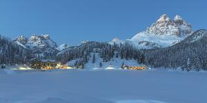 Misurina's Lake Covered by Winter Snow, with Lavaredo's Three Peaks and Monte Piana by ClickAlps