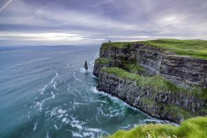 O'Brien's Tower and Breanan rock. Cliffs of Moher, Liscannor, Munster, Co.Clare, Ireland, Europe. by ClickAlps