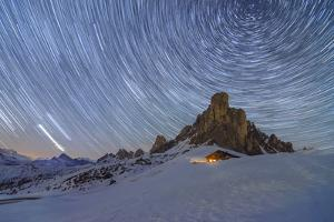 Ra Gusela, Giau Pass, Dolomites, Veneto, Italy. Winter startrail at Giau Pass by ClickAlps