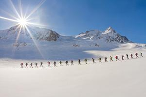 Ski mountaineers in the hochniochferner glacier, Austria, Europe. by ClickAlps