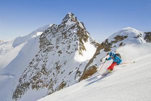 Ski mountaneering, Forni glacier, Italy, Alps. Ski mountaneering at Forni Glacier in italian Alps by ClickAlps