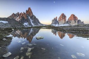 Three Peaks and Mount Paterno Reflected in the Lake. Sesto Dolomites by ClickAlps