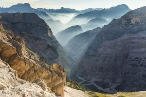 Travenanzes Valley with early morning mist,Cortina d'Ampezzo,Belluno district,Veneto,Italy,Europe by ClickAlps