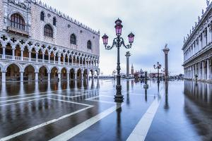 Venice, Veneto, Italy. High Water on San Marco Square and Palazzo Ducale on the Left. by ClickAlps
