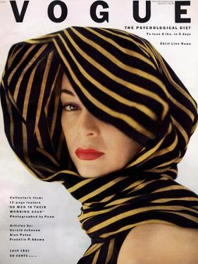 Vogue Cover - July 1951 - Wrapped in Black and Gold by Clifford Coffin