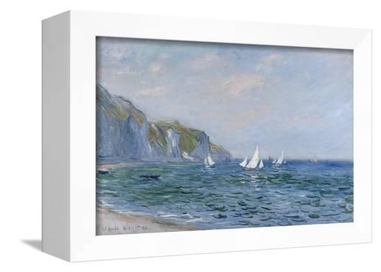 Cliffs and Sailboats at Pourville-Claude Monet-Framed Stretched Canvas