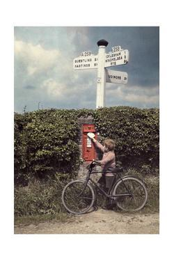 A Little Boy Mails a Letter in a Mailbox in the Hedgerow by Clifton R. Adams