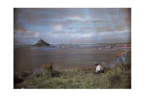 A Man Admires the View of an Abbey on St. Michael's Mount by Clifton R. Adams