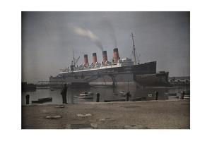 "A View of the Cunard S.S. ""Mauretania"" at Dock by Clifton R. Adams"