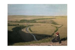 A Woman Looks Down over the Cuckmore River by Clifton R. Adams