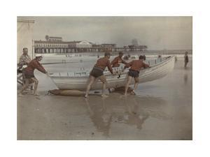 Life Guards of the Beach Patrol Push a Boat into the Water by Clifton R. Adams