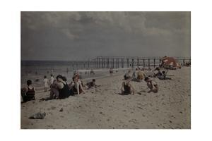 People Sunbathe and Swim at a Beach on the Atlantic Coast by Clifton R. Adams