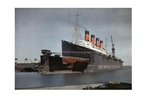 "The Cunard S.S. ""Mauretania"" at Dock for Her Semiannual Hull Cleaning by Clifton R. Adams"