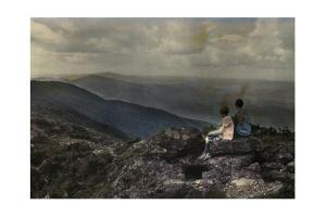 Two Kids Sit Atop Mount Mansfield Looking at the View by Clifton R. Adams