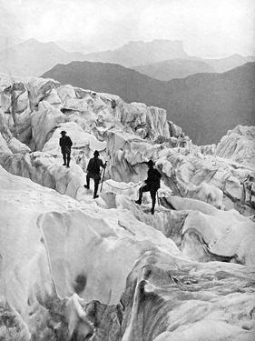 Climbing Through the Bossons Icefall on the Way Up Mont Blanc, Switzerland, Early 20th Century