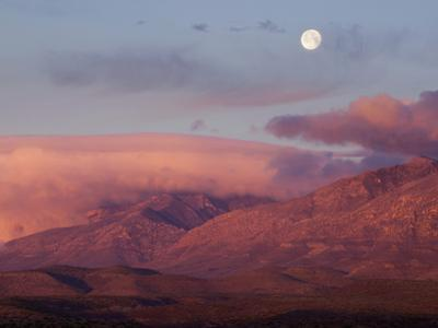 Moon over Guadalupe Mountains, Guadalupe Mountains National Park, Texas, USA