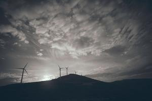 Wind Turbines on a Horizon by Clive Nolan