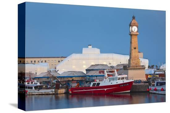 Clock tower in the harbour of Barcelona, Catalonia, Spain--Stretched Canvas Print