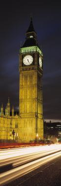 Clock Tower Lit Up at Night, Big Ben, Houses of Parliament, Palace of Westminster, London, England