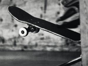 Close-up Monochromatic Image of a Skateboard