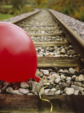 Close-up of a Balloon on a Railroad Track, Germany