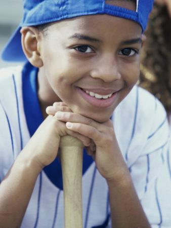Close-up of a Boy From a Little League Baseball Team