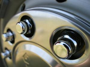 Close-up of a Chrome Hubcap