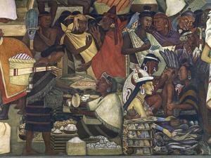 Close-Up of a Fresco, Market at Tenochtitlan, National Palace, Mexico City, Mexico