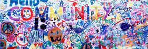 Close-Up of a Hand Painted Community Banner, Eureka, California, USA