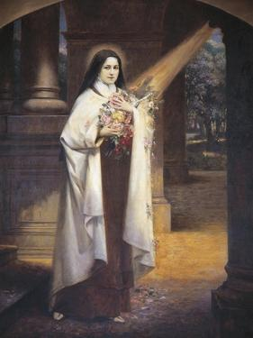 Close-Up of a Mural of St. Therese of Lisieux