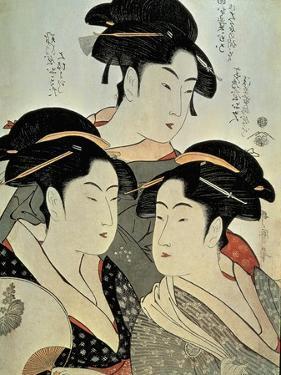 Close-Up of a Painting of Three Women, Kitagawa Utamaro, Kansei Era, Japan